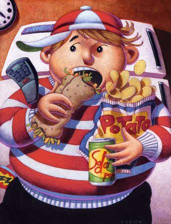 Boy eating unhealthy food