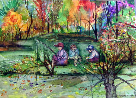 Children fishing by the river