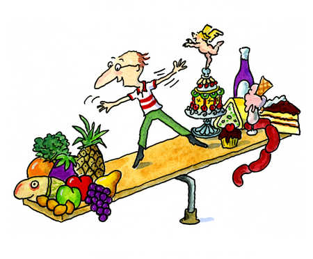 A man on a see-saw balancing between healthy and unhealthy food