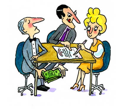 An innocent woman signing a contract with corrupted partners
