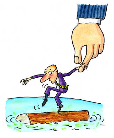Stock Illustration - A man tiptoeing on a floating log