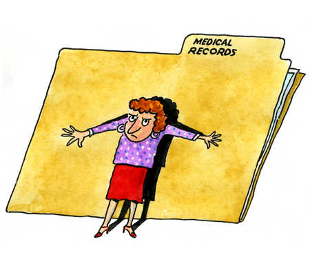 A woman is protective of her medical records