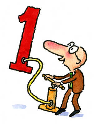 A man pumping air into number one