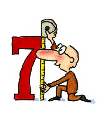 A man taking a measurement of number seven