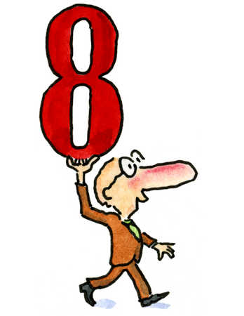 A man walking and holding up the number eight