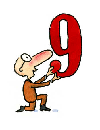 A man kneeling and holding up the number nine