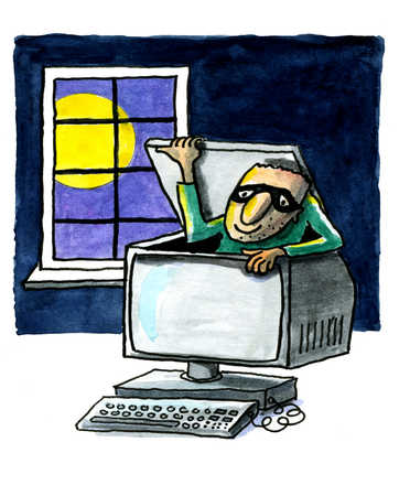 A thief coming out of the computer at night