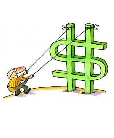 A man trying to topple the dollar sign