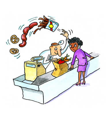 A doctor sorting out the unhealthy shopping items