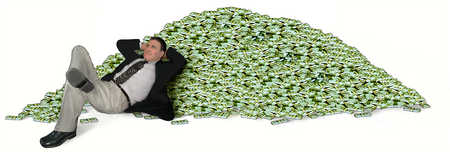 A man resting on a pile of money