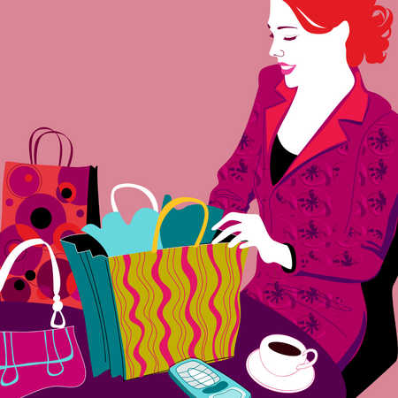 A woman checking out her shopping bags
