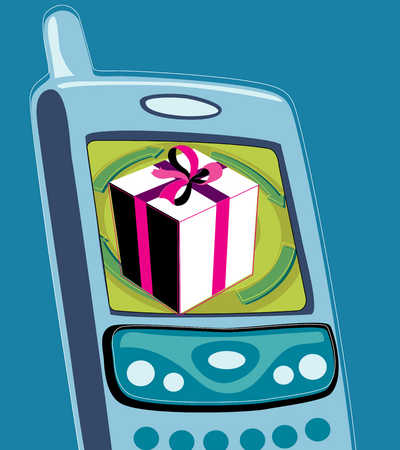 A phone with a gift box on the screen display