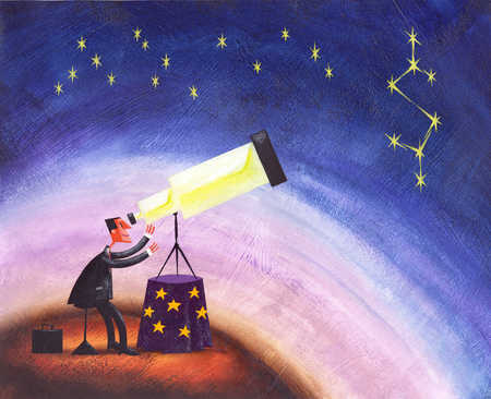 Stock Illustration - Person looking star through telescope