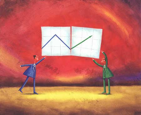 Businessmen showing graph