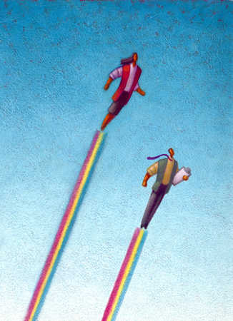 Man and woman flying on line