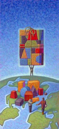 Businessmen standing on world globe, carrying box