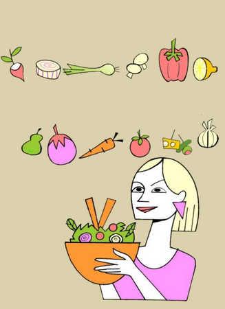 Woman holding vegetable salad bowl