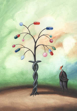 Man looking at tree of pills and tablets, side view