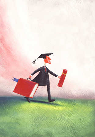 Man wearing mortar board, holding briefcase, side view