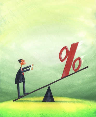 Businessman and percentage symbol on seesaw