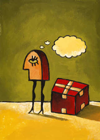 A woman standing next to a box, thinking