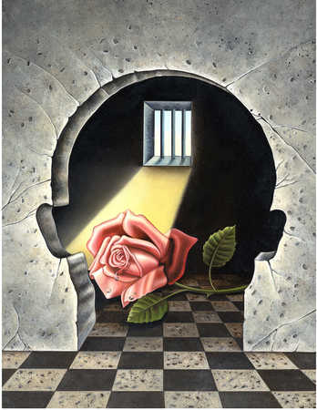 A rose in a cell with a hole in the wall