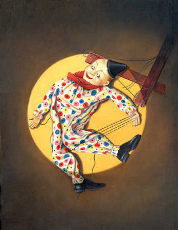 A string puppet in colourful clothing, view from above