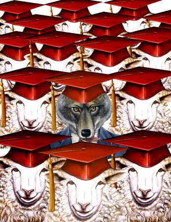 A fox among a herd of sheep with mortarboards