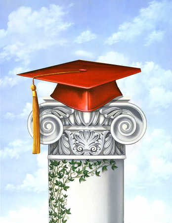 A mortarboard resting on top of a pillar