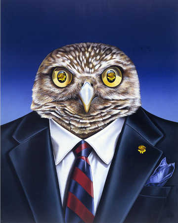 A portrait of an owl in business suit