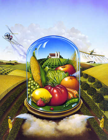 Vegetables and fruits in a bell jar amidst the agricultural fields