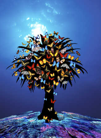 A tree with butterflies in blue background