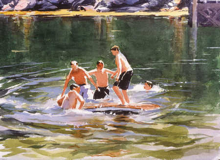 A group of boys playing in a river