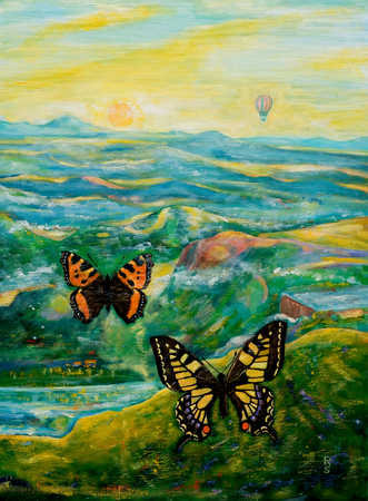 Butterflies with a scenic background