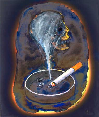 A cigarette in an ashtray