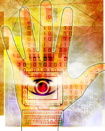 A computer with red worldly eye on a human's hand