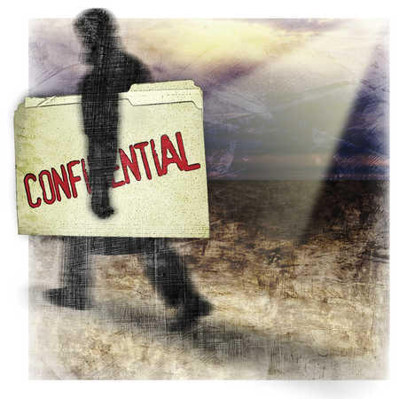Silhouette of a man carrying a confidential folder