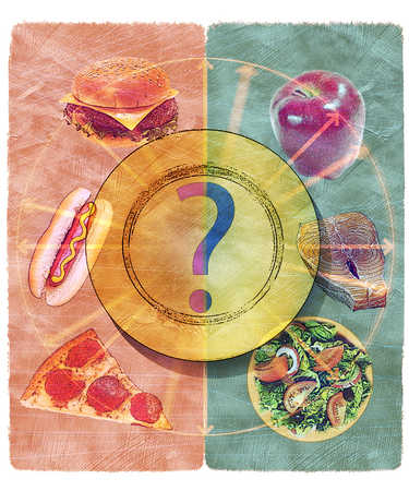 Choices between healthy and unhealthy food