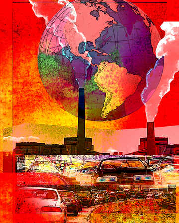 Exhaustive fumes from cars and factories contribute to global warming