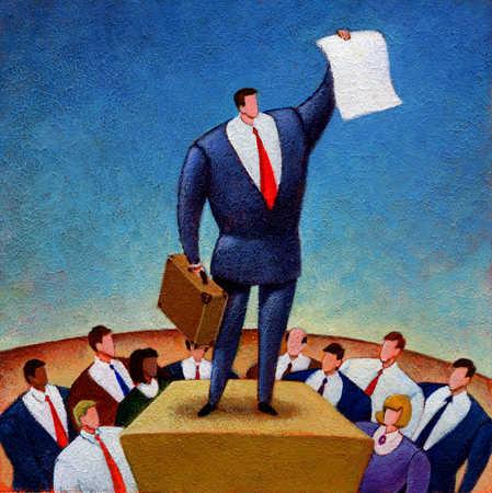 Businessman on pedestal holding blank paper