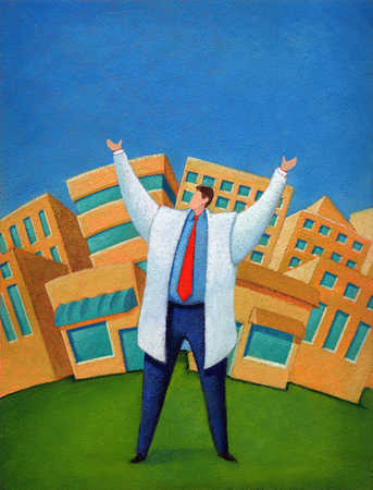 Man with arms raised in front of buildings
