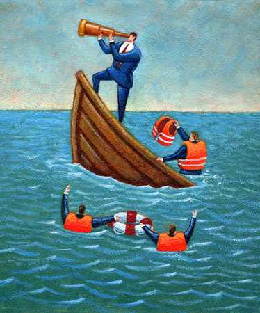 Businessman standing on sinking ship