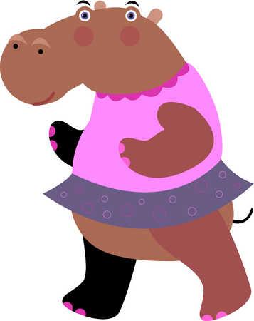 A hippopotamus wearing a pink dress