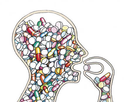 Outline of person filled with medication