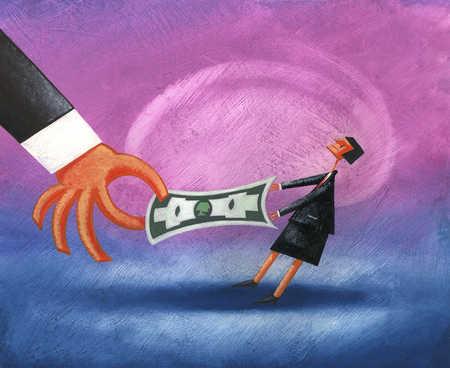 Tiny businesswoman having tug of war with money