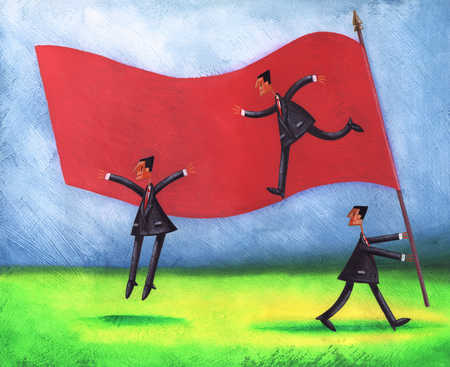 Businessmen carrying flag and jumping