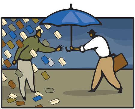 Man under rain of credit cards reaching for umbrella