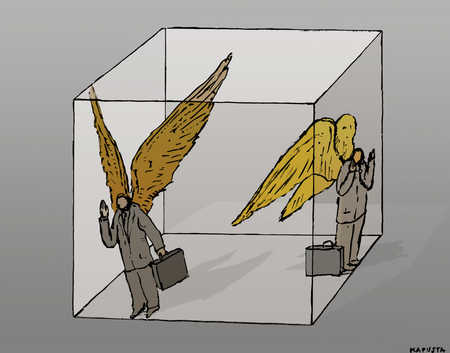 Businessmen with wings inside cube