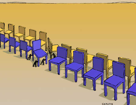 People moving rows of chairs to face each other