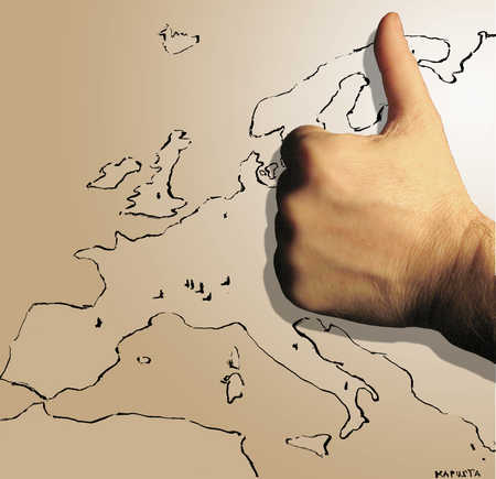 Thumbs up in front of map